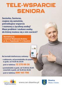 Tele- wsparcie Seniora. Plakat przedstawiający kobietę zachęcającą do skorzystania z usług Centrum Wspierania Rodziny